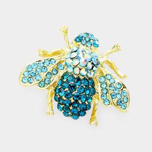 Honey Bee Crystal Rhinestone Pin Brooch